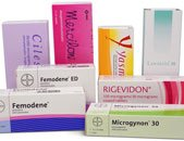 Photo of different boxes of contraceptive pill brands