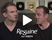 photo of 2 men talking about their experience with Regaine