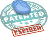 Image of Viagra pill on top of patent expired graphic