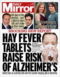 hay fever tablets dementia