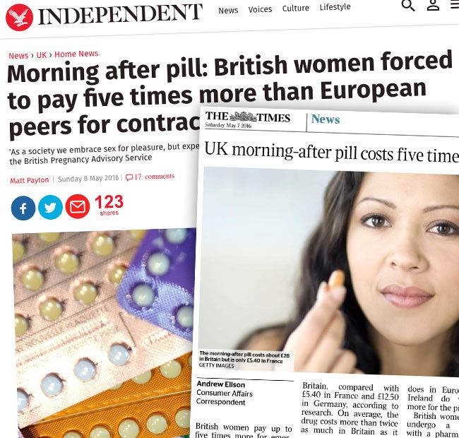 morning after pill prices in the UK - newspaper story headlines image