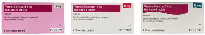 Generic Levitra (Accord vardenafil) pack photos: 5mg, 10mg, 20mg
