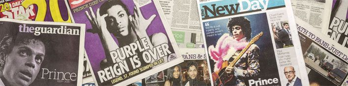 The death of Prince in newspaper headlines