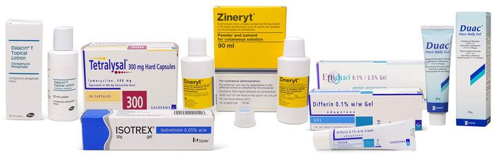 Range of products for acne treatment