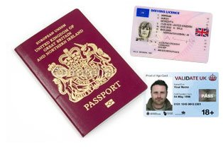 Photo IDs (passport, driving license, 18+card)