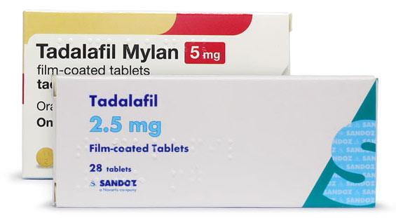 Photo of 2.5mg and 5mg generic tadalafil packs
