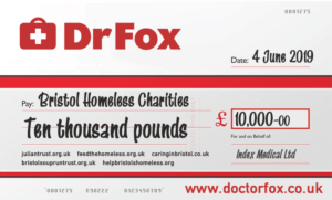 Dr Fox charity cheque